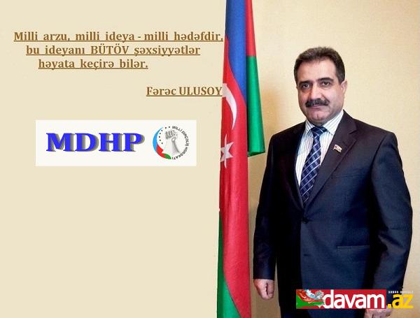 MDHP Sədri, Millət vəkili Fərəc Quliyevin Ramazan təbriki.