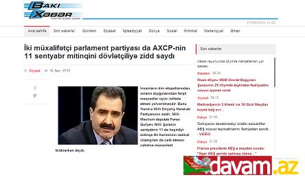 İki müxalifətçi parlament partiyası da AXCP-nin 11 sentyabr mitinqini dövlətçiliyə zidd saydı
