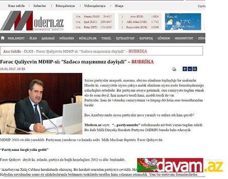 """Fərəc Quliyevin MDHP-si: """"Sadəcə maşınımız dəyişdi"""" – RUBRİKA"""