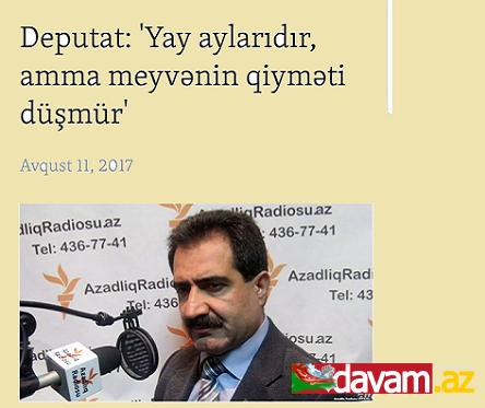 Deputat: Yay aylarıdır amma meyvənin qiyməti düşmür