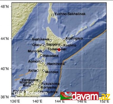Yaponiyanın Hokkaydo adasının sahillərində 5,8 bal gücündə zəlzələ olub