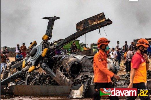 İndoneziyada hərbi helikopter qəzaya uğrayıb, ölənlər var
