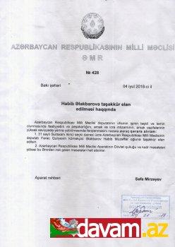 Fərəc Quliyevin köməkçisinə Milli Məclis tərəfindən rəsmi təşəkkür elan edilib (foto)